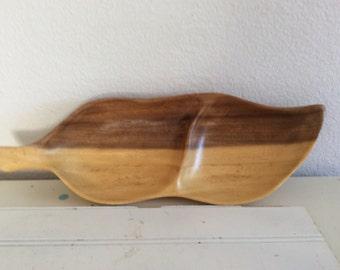 Monkey Pod Wood Dish - Vintage - Leaf Divided - 2 Toned - Serving - Candy - Trinket - Jewelry Holder - Mauai Hardwood - Hawaii - Midcentury