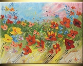 Flowers Poppies ORIGINAL Hand painted Modern Landscape Fine Art Impasto heavy texture Palette knife oil wedding gift Painting by IraSher