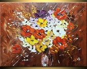 Flowers Bouquet ORIGINAL oil painting impressionistic Fine Art Impasto heavy texture Palette knife Pretty Great Colours gift by IraSher