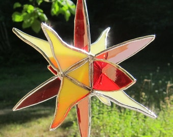 3D Stained glass suncatcher window hanging 3 dimensional ornament in red, yellow and a touch of orange. 6 x 6 x 5 inches. 3 D