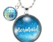 Mermaid Pendant With Blue Fish Scales Charm, Mermaid Jewelry (OOAK-00008)