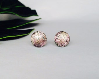 Salmon Pink Dichroic glass stud warrings, on sterling silver - fused glass dichroic