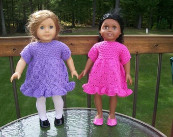 71) Knit Ruffle Full Bottom Dress Short Sleeves 15 or 18 Inch Dolls American Girl  Cabbage Patch Bitty Baby