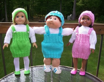 CLEARANCE 70) Knit Dress/Jumper, Blouse and Hat   15 Inch Doll   18 Inch Doll   American Girl   Cabbage Patch   Girlz  Gotz