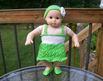CLEARANCE 68) Knit Sundress and Headband with a Flower to match for Bitty Baby and Preemie Dolls    15 Inch Dolls