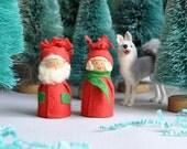 SALE! Pair of Little Swedish Santa & Mrs Santa with Red Felt Hats - Bostrom