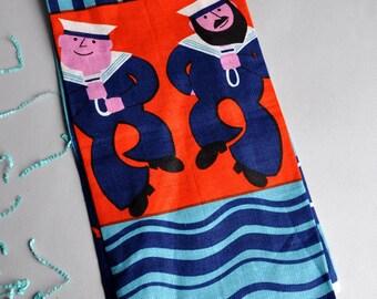 RARE Old Bleach - Dancing Sailors - Irish Linen Tea Towel - Tags