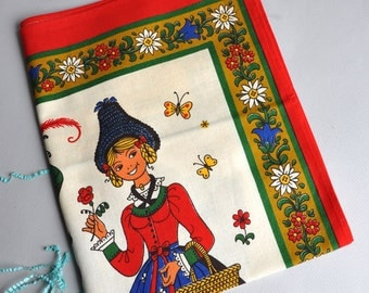 Folk Kolf Austrian / German Tea Towel - NOS