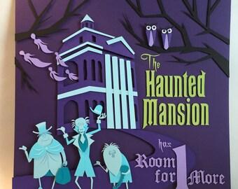 Haunted Mansion 12X12 Hand Cut Paper Shadowbox FRAMED Disney Handmade Ghosts