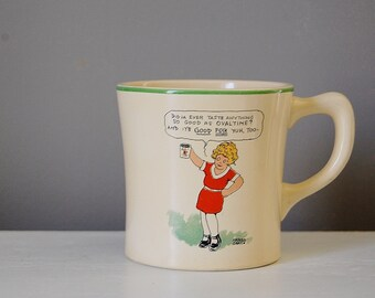 Annie Mug by Ovaltine, 1930's Orphan Annie and Sandy the dog, Illustrations by Harold Gray