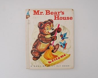 Mr. Bear's House Book, A Rand McNally Elf Book, Vintage Kids Books, Kitsch
