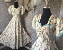 Vintage 1930's 40's Candy Novelty Print Cotton Dress Gown Large