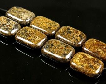 Bronzite Rectangle Bead  - 16mm x 12mm x 5mm - 8 beads - B3816