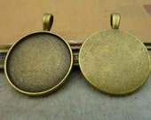10 pcs 25mm Antique Bronze  Cameo Cabochon Base Setting Tray Blanks Pendants Charm Pendant C4510