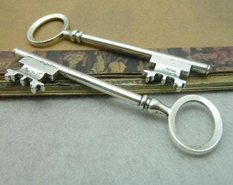 5pcs 23x80mm The Key  Silver White  Retro Pendant Charm For necklace Jewelry /Pendants C5872