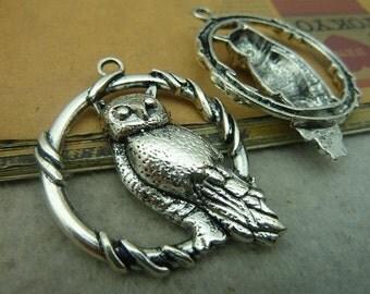 5pcs 37x48mm The Owl Silver White  Retro Pendant Charm For necklace Jewelry /Pendants C3644