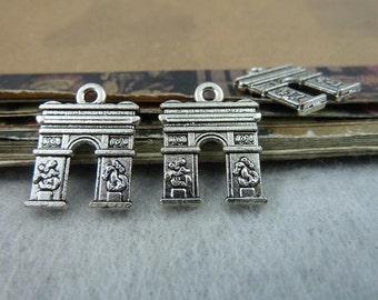 50pcs 10x13mm The Door Silver White  Retro Pendant Charm For necklace Jewelry /Pendants C6482