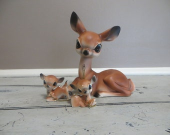 Vintage Ceramic Doe with Fawns Woodland Deer Spotted Deer Mommy and Babies Doe
