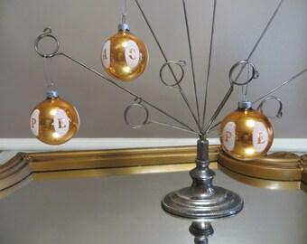 Round Shiny Brite PEACE Ornaments Vintage Ball Ornaments Glass Ornament Christmas Tree Ornament Gold Ball Bronze Vintage Christmas Tree