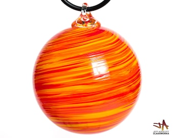 Deluxe Hand Blown Glass Ornament - Hot Red Orange Yellow Twist