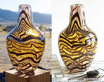 Unique Hand Blown Art Glass Vase - Iris Gold with Ruby Squiggles