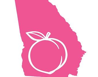 Georgia Peach Decal - Peach State - Georgia Girl - Georgia State Decal