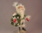 Unique Santa Claus polymer clay art doll with wreath and dove