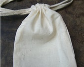 "6 Thick Pure Cotton Muslin Bags, 3""x5"" - Unbleached, perfect for straining tomatoes, mulling spices and more"