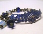 Vintage Art Deco Brass Stamping Bracelet Periwinkle Blue Patina, Moon Stone Cuff Bracelet