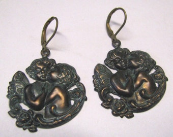 Victorian Art Nouveau Rusty Black Patina Angel Cupid Dangle Pierced Earrings, Antique Style