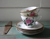 Rose Metasco Saucers and Teacups, Vintage Tea Set, Vintage Rose Metasco, Gold Edging
