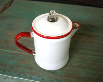 Red and White Enamelware Coffee Pot, Vintage Kitchen, Retro Kitchen, Enamel Pitcher