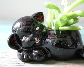 Black Cat Planter, Succulent Planter, Vintage Planter, Black Cat Figurine, Cat Decor