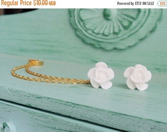 VALENTINES DAY SALE Pure White Blossom Double Gold Chain Ear Cuff Earrings (Pair)