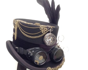 Steampunk Raven cogs & gears black top hat