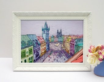 Colourful Prague Old Town Square illustrated drawing, cityscape, A4 print unframed