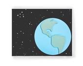 Earth Nursery Wall Art Wall Decor Wood Dimensional Art Space Stars