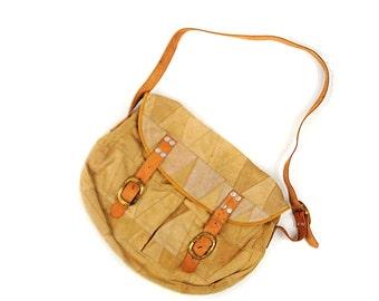 Vintage 1980's Golden Tan Leather Triangle Suede Buckle Strap Slouchy Hippie Boho Crossbody Handbag Purse