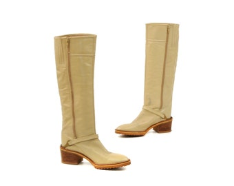 Vintage 1970's Light Tan Bone Italian Leather Campus Stacked Wooden Heel Knee High Boots 8