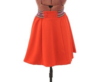 Vintage 1970's Vibrant Red Button Baby Doll High Waist A-line Mini Retro Preppy Skirt SALE