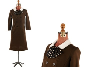 Vintage 1960's Warm Brown Winter Knit Preppy Polk Dot Ascot Tie Mod Shift Scooter Dress M