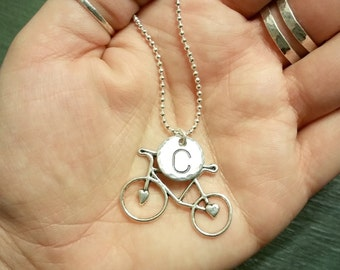 Bicycle and Initial Necklace - Personalized Birthstone Jewelry - Swarovski Birthstones - Layered Silver Necklace