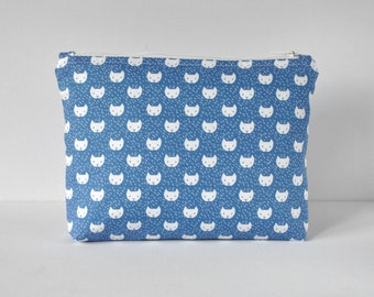 Woman's make up beauty bag travel cosmetics pouch pussycat cat novelty animal print sky blue and white in large.