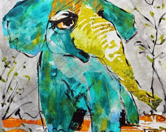 Baby Buddhaphant - Print from Original Collage Artwork 10 x 10