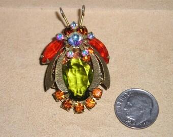 Vintage Juliana Bee Rhinestone Glass Brooch Prong Set 1960's Pin Jewelry 6018