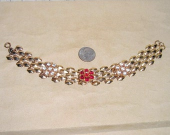 Vintage Red And Clear Rhinestone Bracelet 1940's Jewelry 162