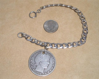 Vintage Sterling Silver Art Deco Era Charm Bracelet With Barber Half Dollar 1920's Signed  Jewelry 6054