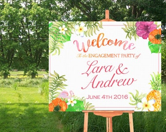 Welcome Sign Poster - Bridal Shower-Wedding- Hawaii- Luau-Tropical Theme- Horizontal-Watercolor Printable- Personalized-YOU PRINT
