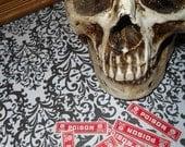 10 Origional Antique Poison Skull and Crossed Bones Labels NOS