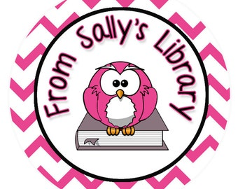 24 STICKERS Personalized Bookplates, This Book Belongs To, Pink Owl Book Label, Pink Childrens Bookplate Stickers, Book Stickers (61P)